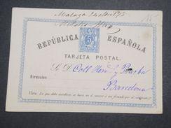 ESPAGNE - Entier Postal De Malaga Pour Barcelone En 1875 - L 10030 - Interi Postali