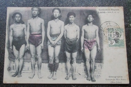 Laos Groupe Meos Blancs Cpa Collection Raquez Timbrée - Laos