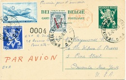 733/25 - PAR AVION - Entier Postal Lion V + TP Divers , Dont Douglas 1 Er Jour D' Emission 23 Février 1946 - Postcards [1934-51]