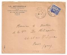 CAMBRAI - GARE Nord Sur 90C PAIX. 1939. LA METROPOLE. - Marcofilie (Brieven)