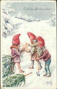AK Karl Feiertag, Zwerge Mit Tannenbaum, BKWI 3016-3, Ecke Unten Links Mit Papierabschürfung (26483) - Feiertag, Karl