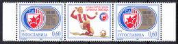 Yugoslavia 1995  50 Years Anniversary Football Club Red Star Belgrade, Soccer, Sport, Middle Row MNH - 1992-2003 Sozialistische Republik Jugoslawien