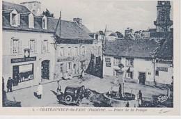 FRANCE CARTE POSTALE DE CHATEAUNEUF DU FAOU   PLACE DE LA POMPE - Châteauneuf-du-Faou