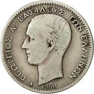 Grèce, George I, Drachma, 1868, Paris, TB+, Argent, KM:38 - Grèce