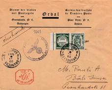 """Pub 35 Ct Op Drukwerk """"Orval Zegels"""" Naar Basel/Suisse 1941 Met Duitse Censuur + Mechanische 10 Ct Frankering ? - Guerre 40-45"""