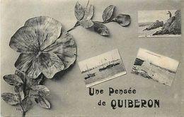 - Morbihan - Ref-D476- Quiberon - Une Pensee De .. - Souvenir De .. - Multi Vues - Carte Bon Etat - - Quiberon