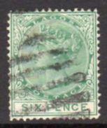 Nigeria Lagos QV 1876 Wmk. Crown CC 6d Green Definitive, Used, SG 15 - Nigeria (...-1960)