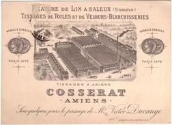 AMIENS - Carte De Visite Usine De  Tissage COSSERAT. - Amiens