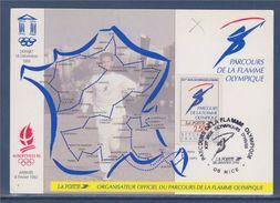 = Parcours De La Flamme Olympique Carte Postale 06 Nice 28.1.92 N°2732 Jeux Olympiques D'Albertville XVIè Jeux D'Hiver - Cartoline Maximum
