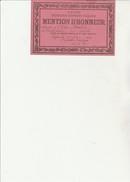 """PETIT CARTON """"MENTION D'HONNEUR -ECOLE COMMUNALE LYON -1934 - Diplomi E Pagelle"""