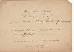 Invitation De Monsieur Van Praet Pour Le Ministre Belge Victor Jacobs Vers 1870 - Faire-part
