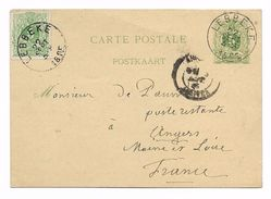 LEBBEKE 1885 + 5 Ct Bijfrank. Naar Frankrijk  Entier 5 Ct - 1884-1891 Leopold II
