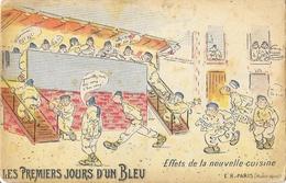 Lot De 4 Cartes Halte-la!, Série: Les Premiers Jours D'un Bleu (réception Arrivée, Trousseau...) - Edition E.R. Paris - Humour