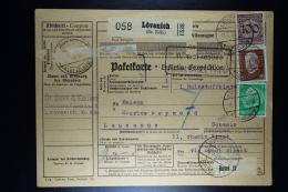 Deutsche Reich Paketkarte  Lövich To Lausanne  1934 Mixed Stamps - Deutschland