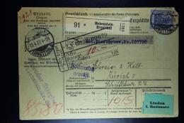 Deutsche Reich Paketkarte  Hohenstein-Ernstthal -> Zurich Schweiz  1922 Mixed Stamps (back - Deutschland