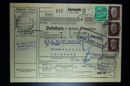 Deutsche Reich Paketkarte  Lövenich -> Lausanne Schweiz  1933  Mixed Stamps - Deutschland