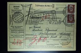 Deutsche Reich Paketkarte  Frankfurt -> Lausanne Schweiz  1931  Mixed Stamps Back - Deutschland