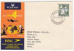 BOAC Comet 4 Jetliner London Johannseburg Cover Travelled 1959 Salisbury To Nairobi Bb171130 - Airplanes