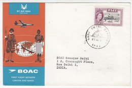 BOAC London Nadi (Nandi?) First Flight Cover Travelled 196? Fiji To New Delhi Bb171130 - Airplanes