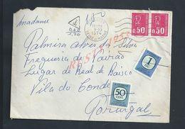 LETTRE DE FRANCE DE 1974 TAXÉ DE COUPVRAY  TAXE DU PORTUGAL VILA DO CONDE : - 1910-... République