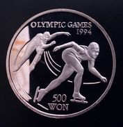 """NORTH KOREA 500 WON 1993 SILVER PROOF """"Olympic Games 1994""""  Free Shipping Via Registered Air Mail - Korea, North"""