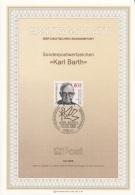 "Germania 1986 Sc. 1461 Ersttagsblatt N. 10 Sonderpostwertzeichen ""Karl Barth""  FDC Sheet Teologo - Teologi"