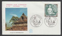 ENVELOPPE 1ER JOUR DE FRANCE - TEMPLE DE BOROBUDUR (N° 1112) - Buddhism