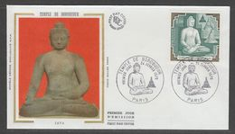 ENVELOPPE 1ER JOUR DE FRANCE - TEMPLE DE BOROBUDUR (OPP) - Buddhism