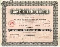 Action Ancienne - Union Minière Indochinoise - Titre De 1928 - Industrie
