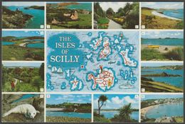 Multiview And Map - Isles Of Scilly, C.1980s - Gibson Postcard - Scilly Isles