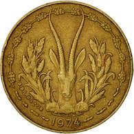 West African States, 5 Francs, 1974, Paris, TTB, Aluminum-Nickel-Bronze, KM:2a - Ivory Coast