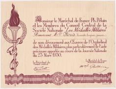 """Maréchal Pétain - Diplôme De Remerciements Pour La Journée Nationale Des """"Médaillés Militaires"""" Du 23 Mars 1930 - - Documents"""