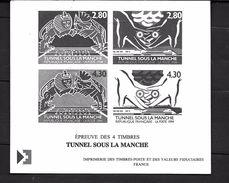France: Document La Poste (14x12)Epreuve  Des 4 Timbres (Tunnel Sous La Manche) - Documenten Van De Post