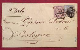 United Kingdom REGNO UNITO 2,5 + 1 P. SU PIEGO  PER BOLOGNA IN DATA  30/6/1882 - 1840-1901 (Regina Victoria)