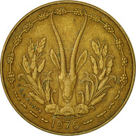 West African States, 5 Francs, 1975, Paris, TTB, Aluminum-Nickel-Bronze, KM:2a - Ivory Coast