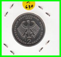 ALEMANIA - GERMANY  MONEDA DE 2.00 DM  AÑO 1983-F  KONRAD ADENAUER  CALIDAD PROOF S/C - [ 7] 1949-… : RFA - Rep. Fed. Alemana