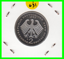 ALEMANIA - GERMANY  MONEDA DE 2.00 DM  AÑO 1983-G  KONRAD ADENAUER CALIDAD PROOF S/C - [ 7] 1949-… : RFA - Rep. Fed. Alemana