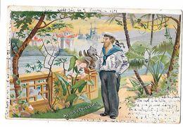 Allemagne - Carte CHROMO  Pionnière  WO IST DIE CHINESIN ? MARIN EN CHINE -sur Le Béret :S.IRENE écrite De LEIPZIG 1901 - Allemagne