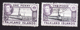 Falkland Islands, Scott #85B, 86, Used, George VI And Scenes Of Falkland Islands, Issued 1938 - Falklandeilanden