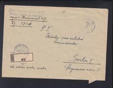 Czechoslovakia Registered Cover 1946 To Prague - Briefe U. Dokumente