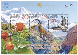 Kazakhstan 2016 Fauna Aksu-Zhabagly Nature Reserve Bird Flower Flora Animals Animal M/S Stamps MNH Mi 922-924 BL75 - Kazakhstan
