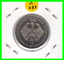 ALEMANIA - GERMANY  MONEDA DE 2.00 DM  AÑO 1984-F  KONRAD ADENAUER CALIDAD PROOF S/C - [ 7] 1949-… : RFA - Rep. Fed. Alemana