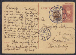 WWII Hungary Occupation Of Yugoslavia 25.IV.1941 Postal Stationery Ujvidek (Novi Sad) - Beocin - Hongrie