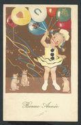 +++ CPA - Carte Fantaisie - Voeux - Bonne Année - Cochon - Pig - Enfant - Fille   // - Nouvel An