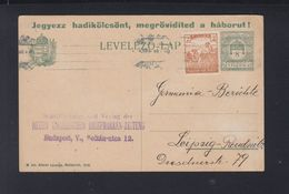 Hungary Stationery 1918 Budapest To Germany - Postal Stationery