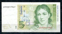 6487 - BUND - 5 Deutsche Mark - 1.8.1991 - Ro 296a - Serie A - Gebraucht - [ 7] 1949-… : RFA - Rep. Fed. De Alemania