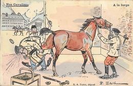 Carte Illustrée Par E. Tehelem, Non Circulée: Nos Cavaliers, A La Forge - Edition E.A. Paris - Humour