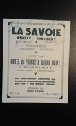 Fascicule Publicitaire La Savoie Offert Par Hôtel De France à Chambéry - Dépliants Touristiques
