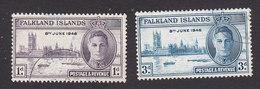 Falkland Islands, Scott #97-98, Used, Peace Issue, Issued 1946 - Falkland Islands