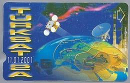 TR.- Telefoonkaart. TÜRK TELEKOM. Turksat 2A. 11.01.2001. 100 Units. 2 Scans. - Turquie
